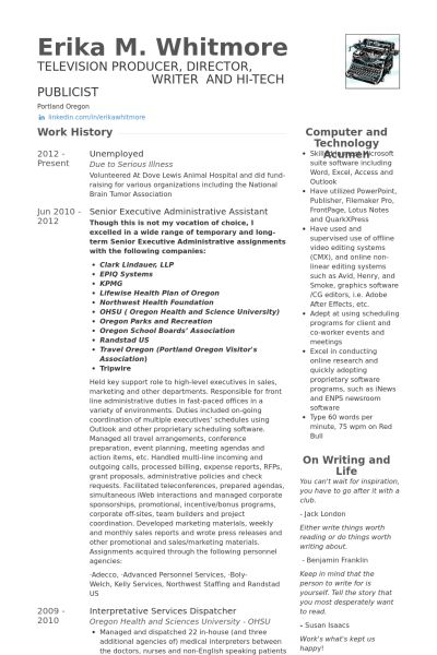 Senior Executive Resume samples - VisualCV resume samples database