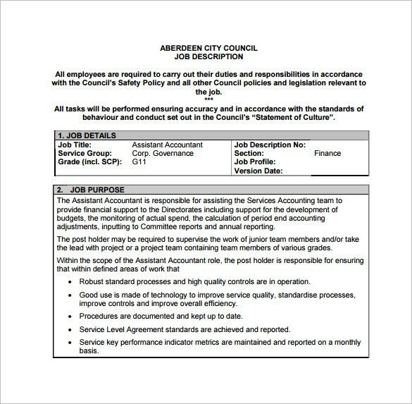 Accountant Job Description Template   9+ Free Word, PDF Format .