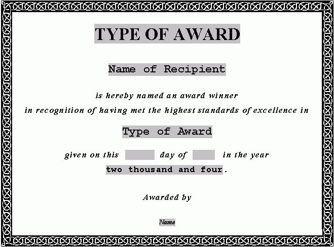 Stunning Award Certificate Template Word For Student Of The Year .  Award Certificate Template For Word