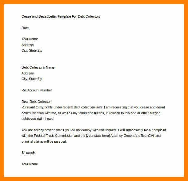 Sample Cease And Desist Letter To Debt Collectors | Docoments Ojazlink