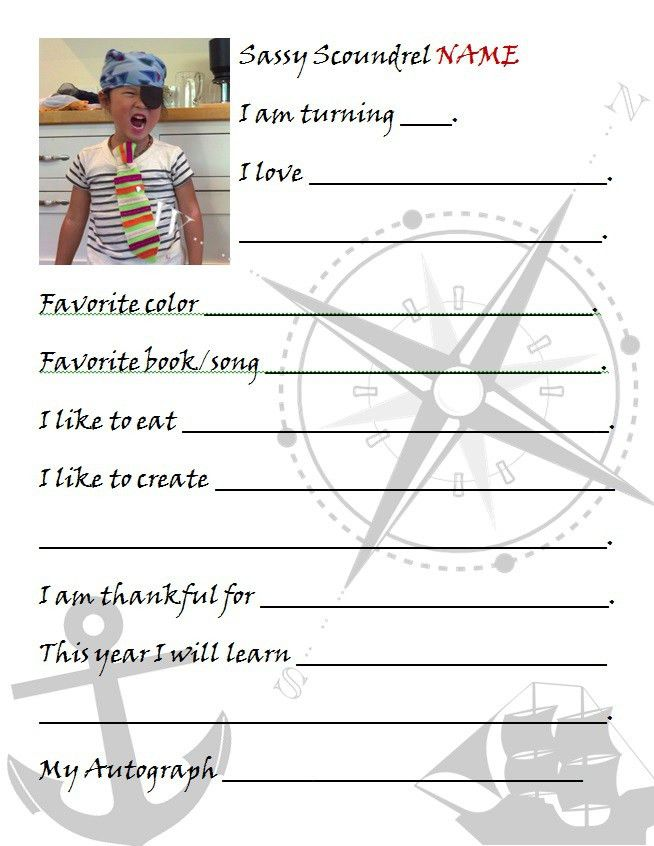 Paper Elements of a Pirate-Themed Birthday Party (Free Templates ...