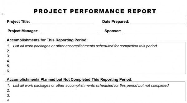PROJECT PERFORMANCE REPORT – Planning Engineer Est.