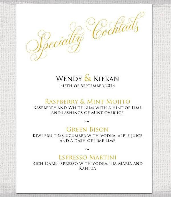 9+ Wedding Party Menu - Designs, Templates | Free & Premium Templates