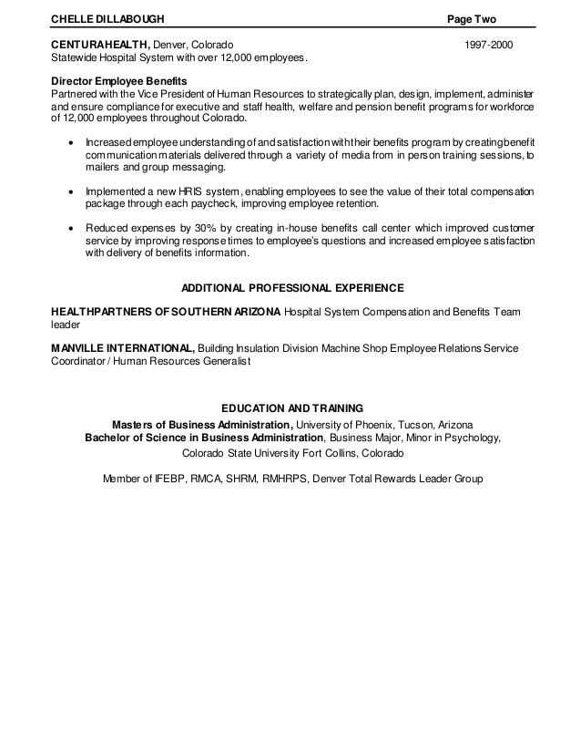 Resume of Chelle Dillabough Human Resources