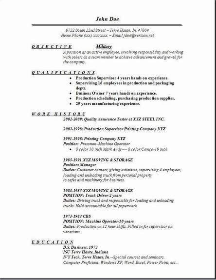 military resume builder objective qualifications | RecentResumes.com