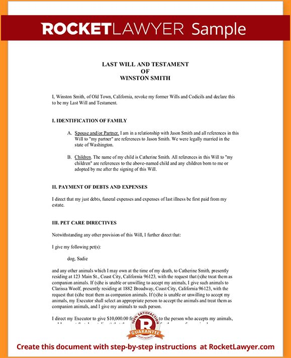 last will and testament form | Questionnaire Template
