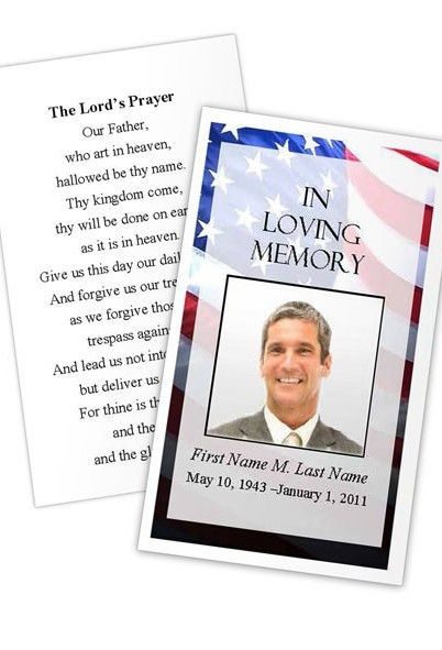 Patriotic US Prayer Card Template | Funeral Card