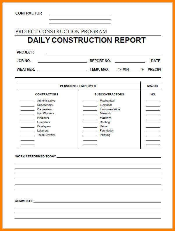 9+ daily report form construction | resume language