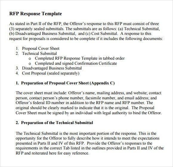 Template For Rfp. Request For Proposal Rfp Templates In Ms Word .