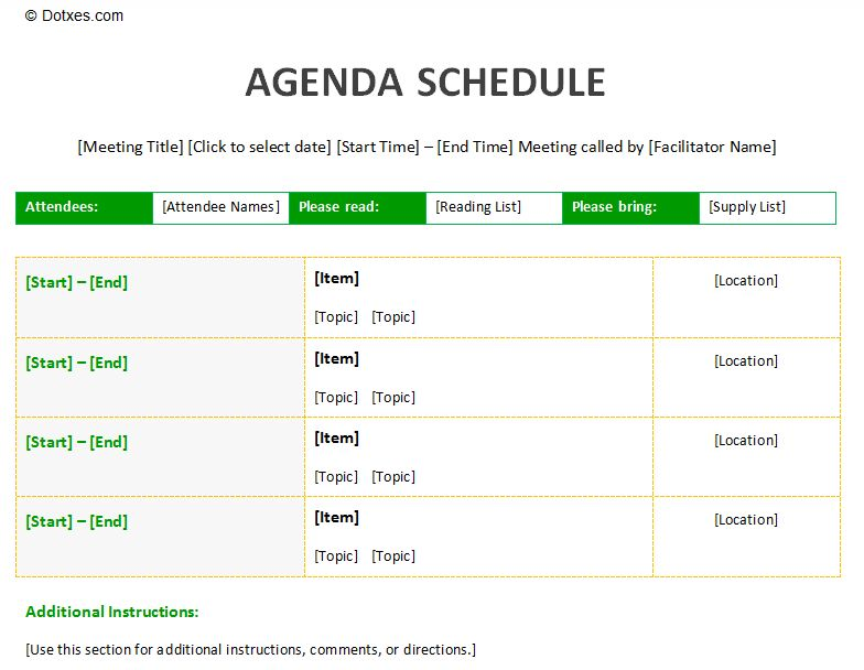 Meeting agenda schedule template to improve your meeting | Agenda ...