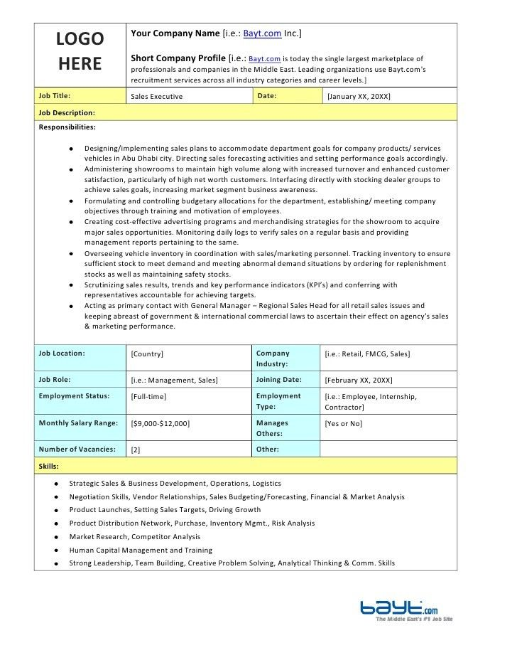 Sales Executive Job Description Template by Bayt.com