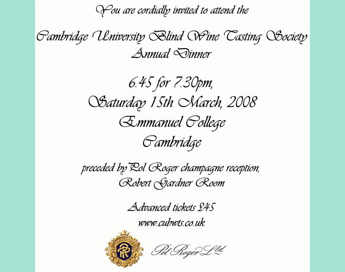 CUBWTS] Annual dinner invitation