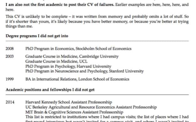Ivy League professor shares 'CV of failures' to show even geniuses ...