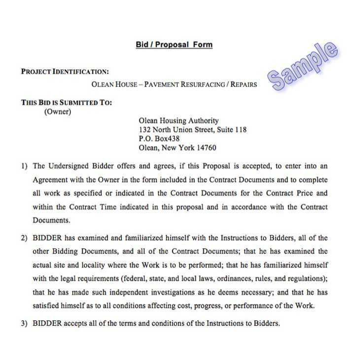 sample construction bid proposal letter