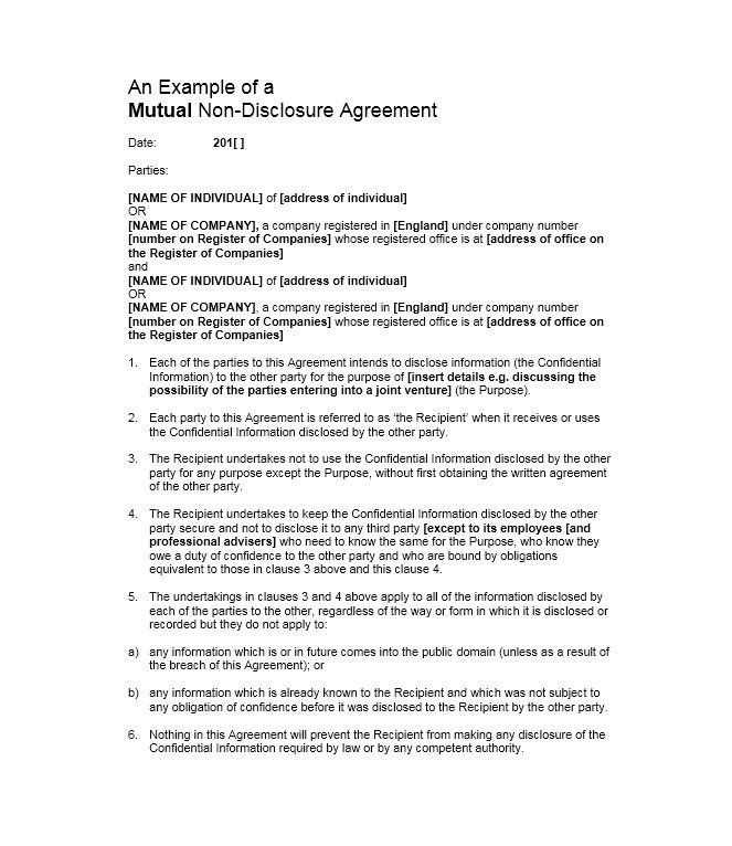 41 Free Non Disclosure Agreement Templates, Samples & Forms – Free ...