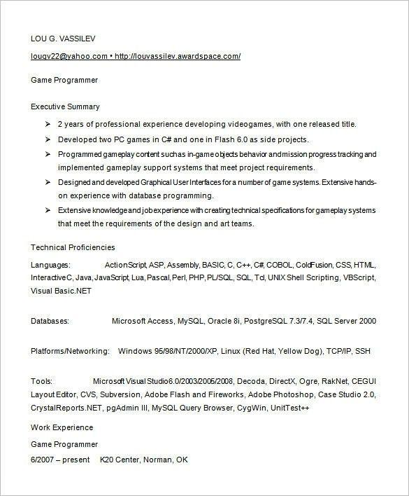 programmer resume template programmer resume template 8 free