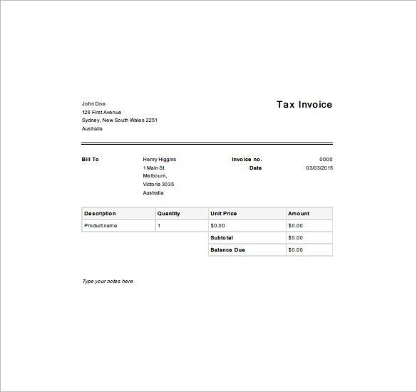Tax Invoice Template – 10+ Free Sample, Example, Format Download ...