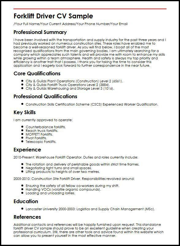 Forklift Driver Resume Sample - Gallery Creawizard.com