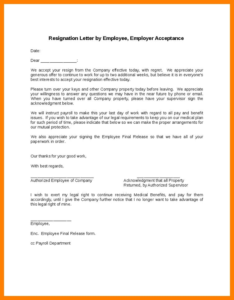 Resignation Acceptance Letter Doc.resignation Letter By Employee ...