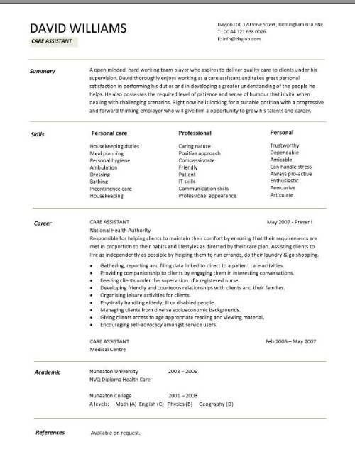 Aged care resume sample care assistant cv template job care assistant cv template job description cv example resume yelopaper Images