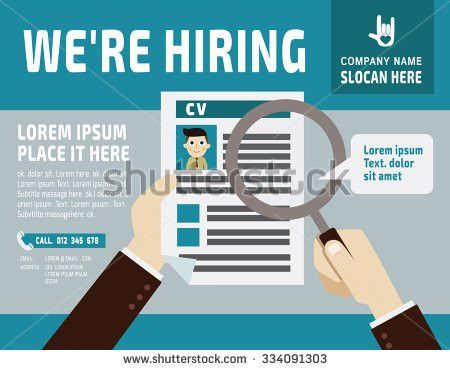 Hiring use Magnifying Glass See Resume banner Poster Stock Vector ...