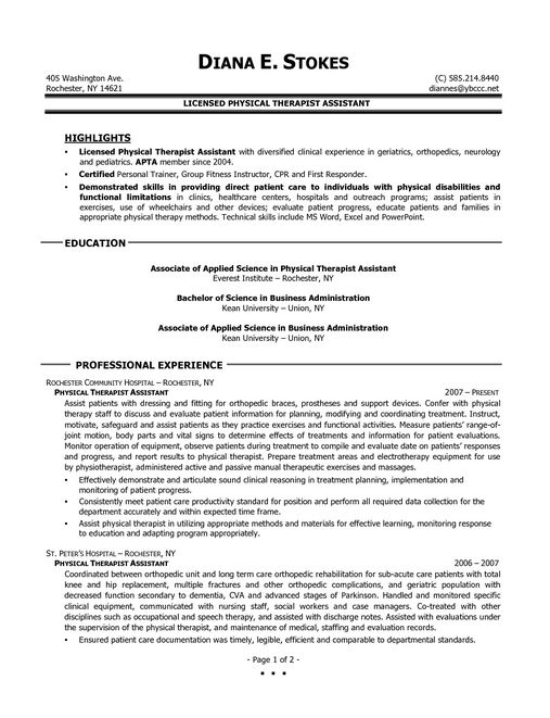 Cover letter physical therapist assistant and physical therapy ...