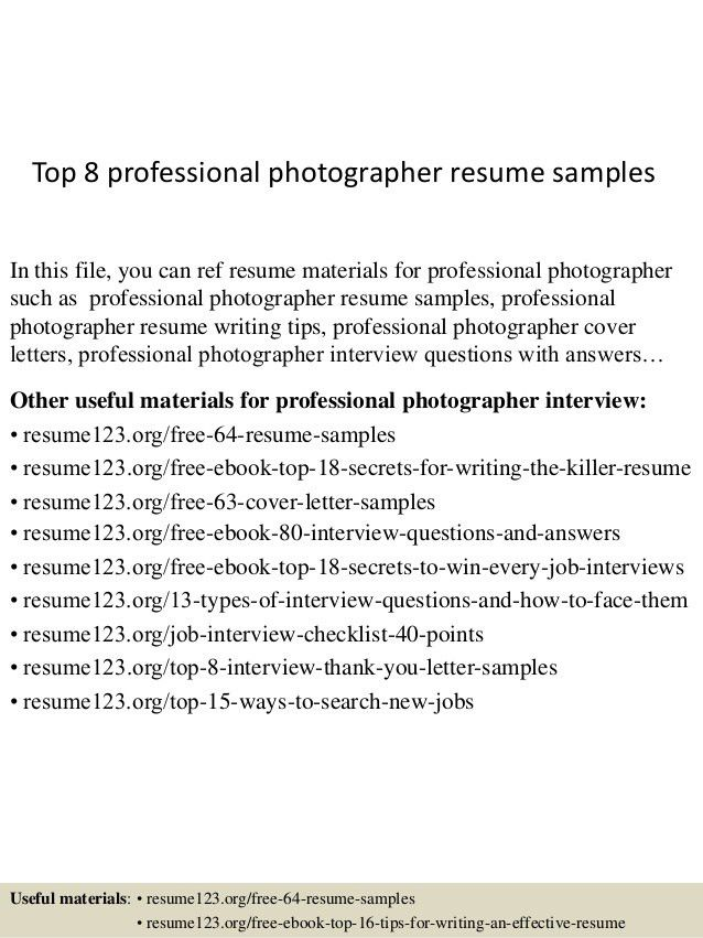 Resume Format For Professional Photographer Photographer Resume .