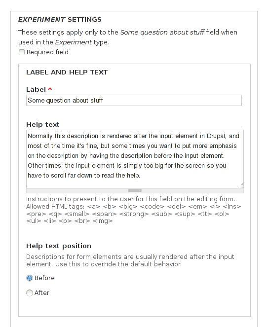 Form element layout | Drupal.org