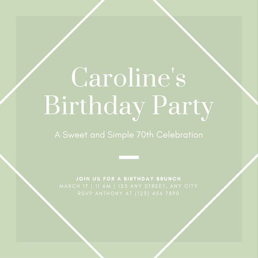 Mint Green Simple 70th Birthday Party Invitation - Templates by Canva