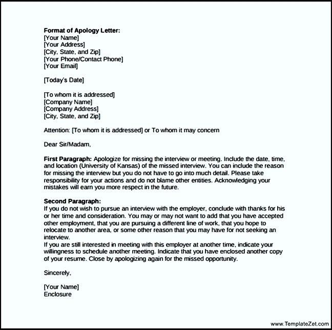 Work Apology Letter Format | TemplateZet