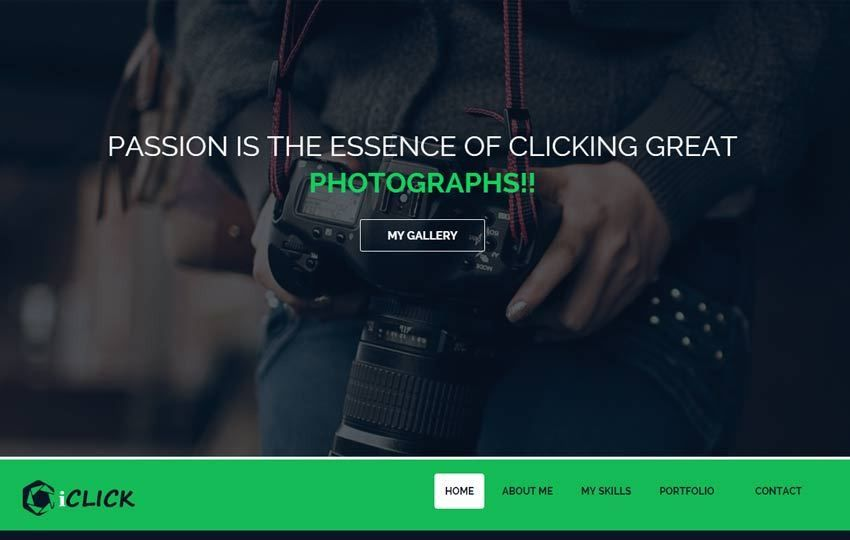 iClick Photography Bootstrap Free Website Template