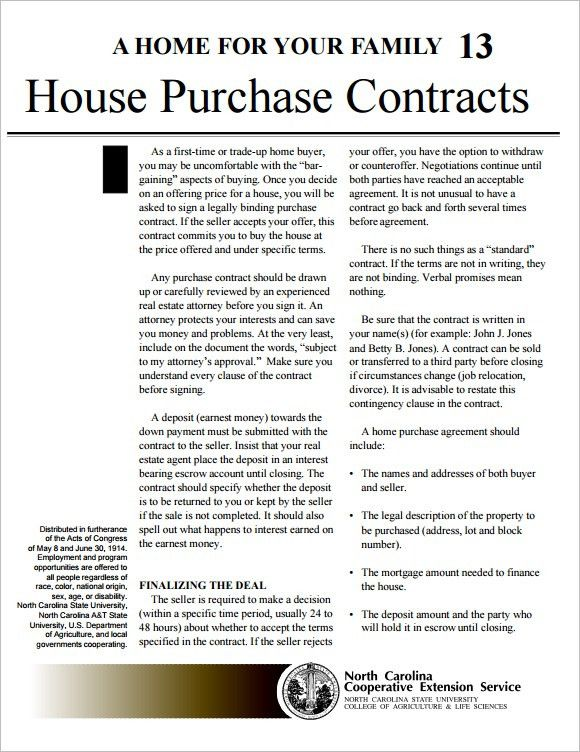 Sample House Purchase Contract