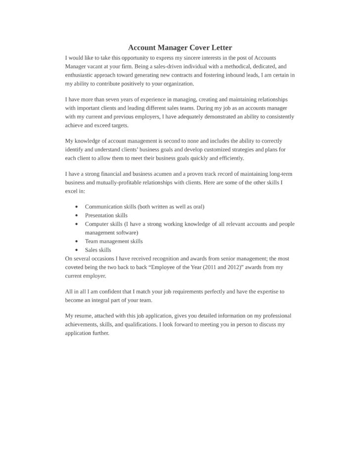 Basic Accounting Manager Cover Letter Samples and Templates