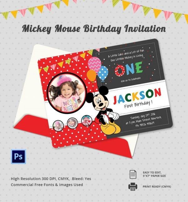9+ Mickey Mouse Birthday Invitations - Free PSD, EPS, JPG, Vector ...