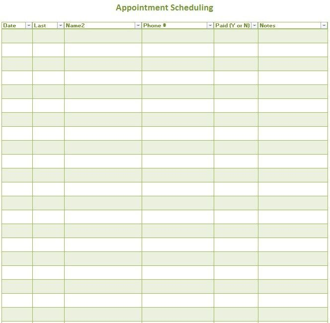 Sample Schedules - Appointment Scheduling. 6 Best Images Of Free ...