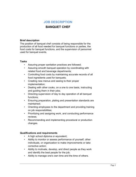 banquet chef job description template sample form biztreecom - Banquet Job Description