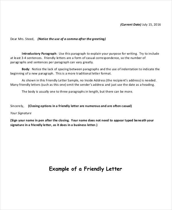 10+ Friendly Letter Format - Free Sample, Example, Format | Free ...