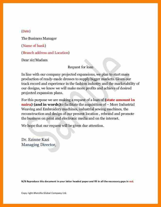 Sample application letter bank manager