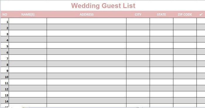 Wedding Guest Lists Excel - Find Word Templates