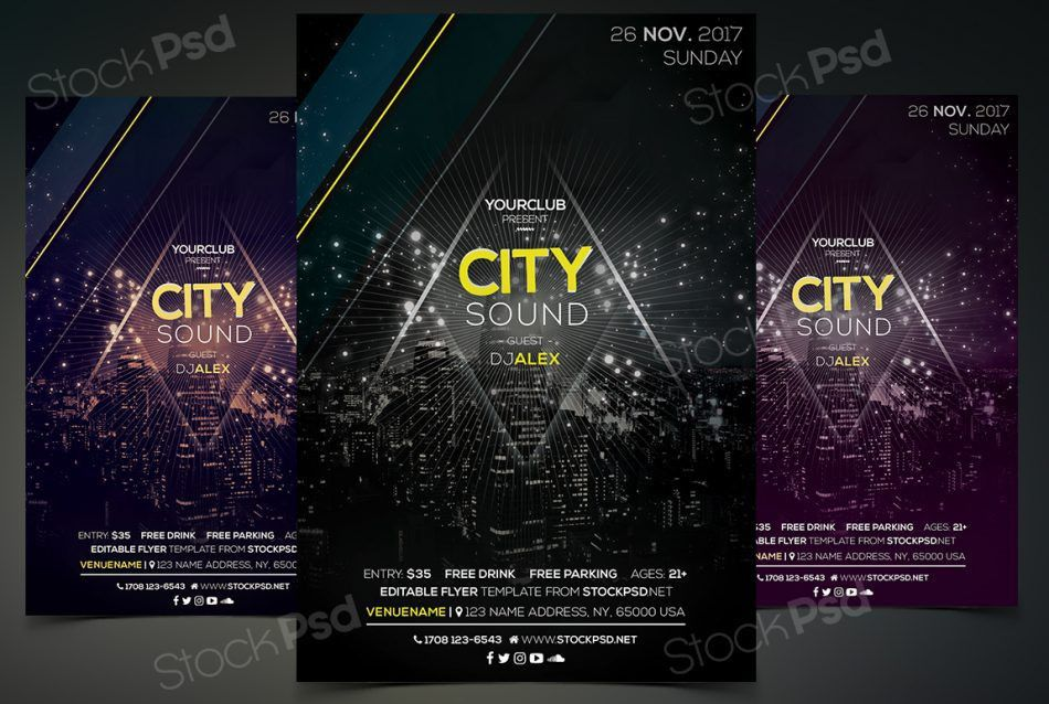 Free City Sound Event Photoshop Flyer Template - FlyerShitter.com
