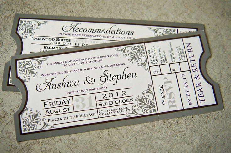 Movie Ticket Wedding Invitations. Wedding Invitations. Wedding ...