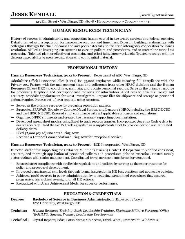 Free Human Resources Technician Resume Example
