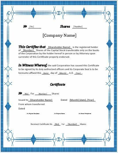 Stock Certificates -2018 Templates for MS Word | Word & Excel ...