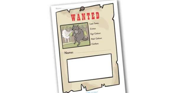 Big Bad Wolf Wanted Poster Writing Frames - Big Bad Wolf Wanted