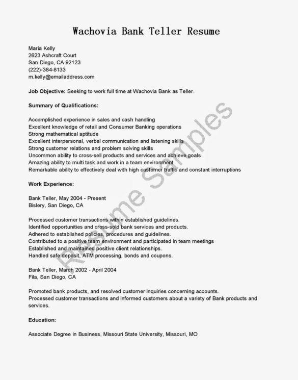 Best Bank Teller Resume Template with Education Background and ...