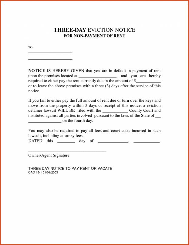 March, 2017 Archive: Eviction Letter Example. Eviction Notice ...