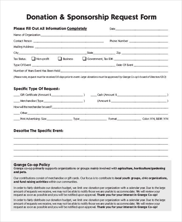 Sponsorship Request Form. Donation Request Form Sample 10+ Sample ...