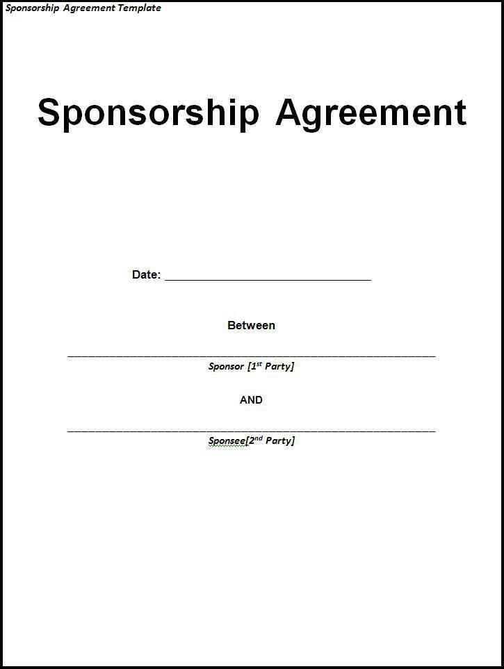 Sponsorship Agreement Template | Free Word Templates