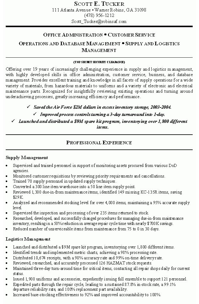 government job resume examples