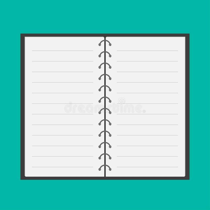 Open Notepad With Spiral And Blank Lined Paper. Fl Stock Vector ...